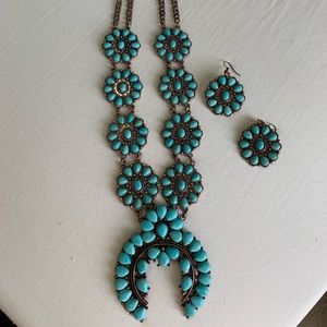 Cooper Turquoise Squash Blossom with Earrings